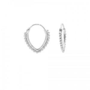Karma oorbellen hoops symbols dots row  pointy oval zilver