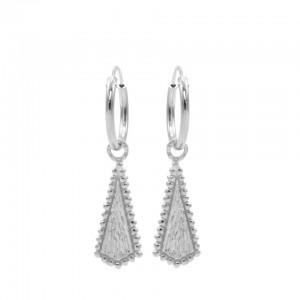 Karma oorbellen hoops symbols dotty cone zilver 12mm (per paar)