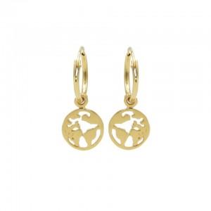 Karma oorbellen hoops symbols earth goud (per paar)