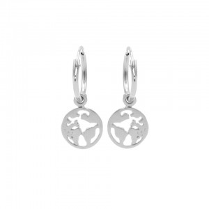Karma oorbellen hoops symbols earth zilver (per paar)