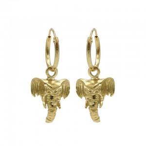Karma oorbellen hoops symbols elephant head goud (per paar)