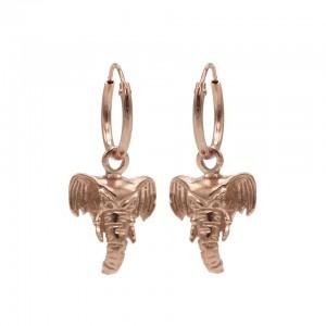 Karma oorbellen hoops symbols elephant head rose (per paar)