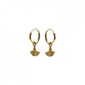 Karma oorbellen hoops symbols ginko leaf goud (per paar)