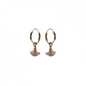 Karma oorbellen hoops symbols ginko leaf rosé (per paar)