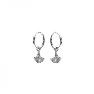 Karma oorbellen hoops symbols ginko leaf zilver (per paar)