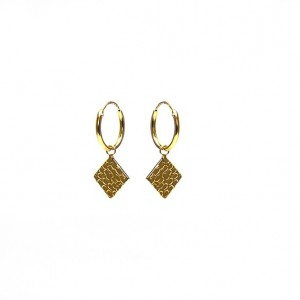 Karma oorbellen hoops symbols hammered diamond goldplated 12mm (per paar)