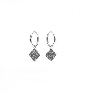 Karma oorbellen hoops symbols hammered diamond silver 12mm (per paar)