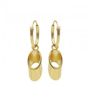 Karma oorbellen hoops symbols hollow tube goldplated 12mm (per paar)