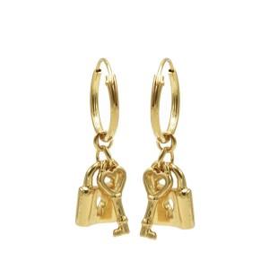 Karma oorbellen hoops symbols key lock goud (per paar)