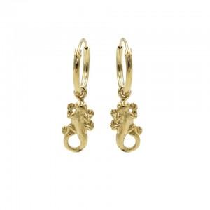 Karma oorbellen hoops symbols lizard goud (per paar)