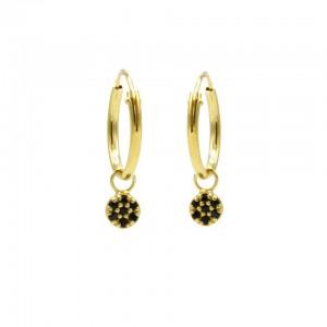 Karma oorbellen hoops symbols mini disc zirconia black goud (per paar)