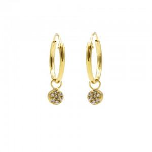 Karma oorbellen hoops symbols mini disc zirconia goud (per paar)