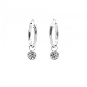 Karma oorbellen hoops symbols mini disc zirconia zilver (per paar)