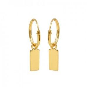 Karma oorbellen hoops symbols mini rectangle goud (per paar)