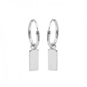 Karma oorbellen hoops symbols mini rectangle zilver (per paar)