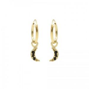 Karma oorbellen hoops symbols moon black zirconia goud