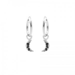 Karma oorbellen hoops symbols moon black zirconia zilver
