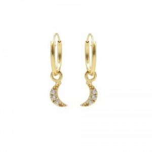 Karma oorbellen hoops symbols moon zirconia goud