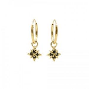 Karma oorbellen hoops symbols morningstar 2 black zirconia goud