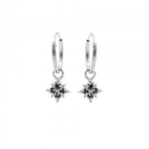 Karma oorbellen hoops symbols morningstar 2 black zirconia zilver