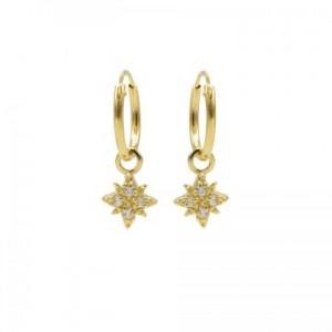 Karma oorbellen hoops symbols morningstar 2 zirconia goud
