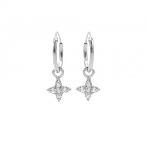 Karma oorbellen hoops symbols morningstar zirconia zilver