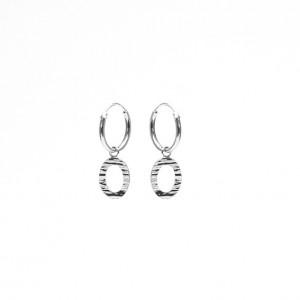 Karma oorbellen hoops symbols open oval wood print silver 12mm (per paar)