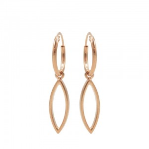 Karma oorbellen hoops symbols open pointed oval rosé 12mm (per paar)