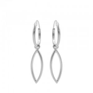 Karma oorbellen hoops symbols open pointed oval zilver 12mm (per paar)