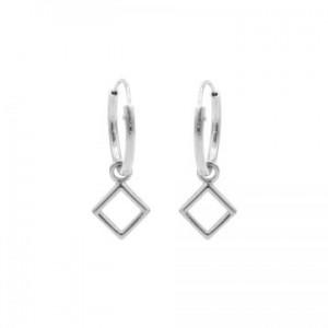 Karma oorbellen hoops symbols open square zilver