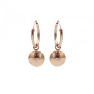 Karma oorbellen hoops symbols round disc rosé 12mm (per paar)
