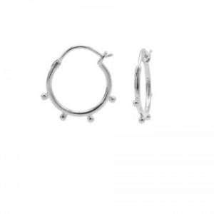 Karma oorbellen hoops symbols solid 4 dots zilver
