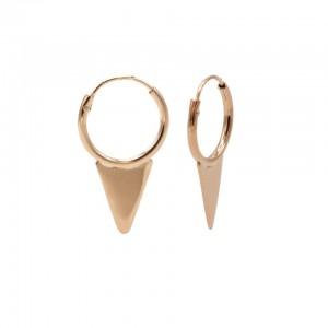 Karma oorbellen hoops symbols solid cone rose 12mm (per paar)