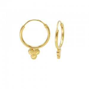 Karma oorbellen hoops symbols solid triple dot goud (per paar)