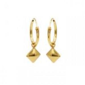 Karma oorbellen hoops symbols square stud goud (per paar)