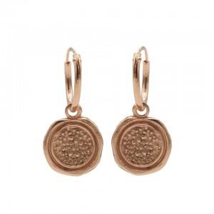 Karma oorbellen hoops symbols stamp roseplated 12mm (per paar)