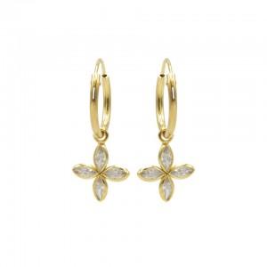 Karma oorbellen hoops symbols star zirconia goud (per paar)