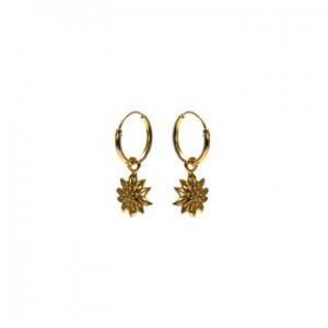 Karma oorbellen hoops symbols sunflower goud (per paar)