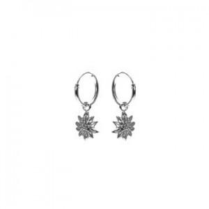 Karma oorbellen hoops symbols sunflower zilver (per paar)