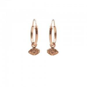 Karma oorbellen hoops symbols tiny eye rose 12mm (per paar)