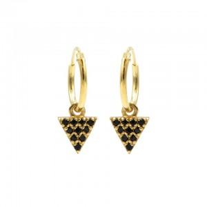 Karma oorbellen hoops symbols triangle 2 black zirconia goud