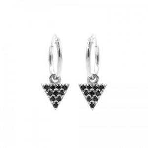 Karma oorbellen hoops symbols triangle 2 black zirconia zilver