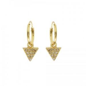 Karma oorbellen hoops symbols triangle 2 zirconia goud