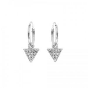Karma oorbellen hoops symbols triangle 2 zirconia zilver