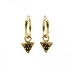 Karma oorbellen hoops symbols triangle black zirconia goud