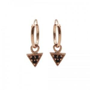 Karma oorbellen hoops symbols triangle black zirconia rosé