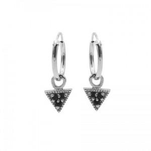 Karma oorbellen hoops symbols triangle black zirconia zilver