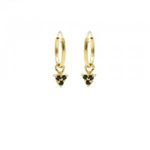 Karma oorbellen hoops symbols triple dots black zirconia goud