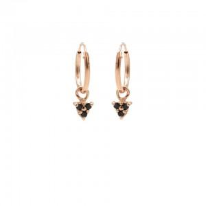 Karma oorbellen hoops symbols triple dots black zirconia rosé
