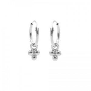 Karma oorbellen hoops symbols triple dots zilver
